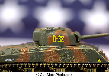 WW2 Tank - Photo of a Toy Tank with Stars in Background