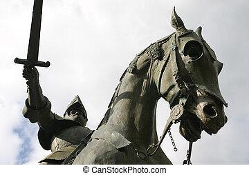 cavaleiro, seu, cavalo