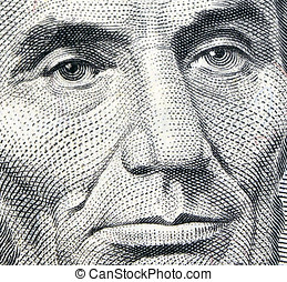 Lincoln Eyes - Macro of Abraham Lincoln on 5 dollar bill