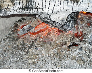 Embers and Ashes - Burning log in an outdooor fire. Taken in...