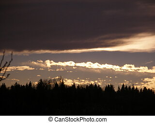 Evening Sky - Wall of clouds is moving across the sky...