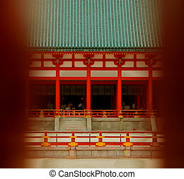 Forbidden temple - A Japanese temple view through a wooden...