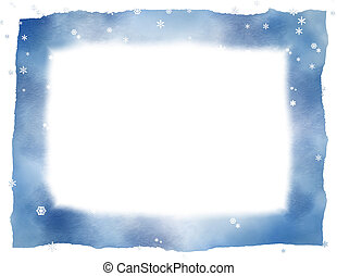 White Background - Snowflake and blue frame over white...