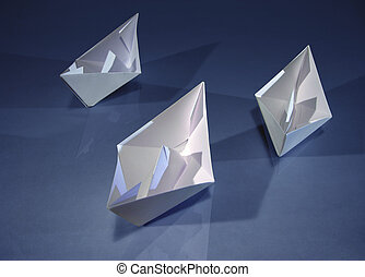 3 boats on blue - Three origami paper boats on blue.