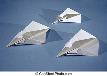 3 paper aircrafts - Three origami aircrafts.