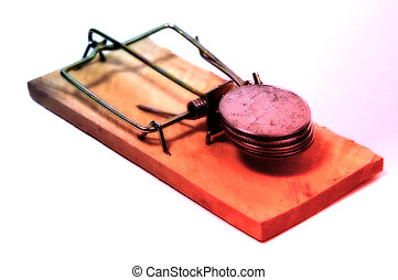 Beware of Fraud 2 - Photo of a Mousetrap and Quarters With...