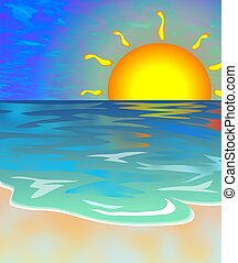 Seascape - Sunsetting over the ocean.