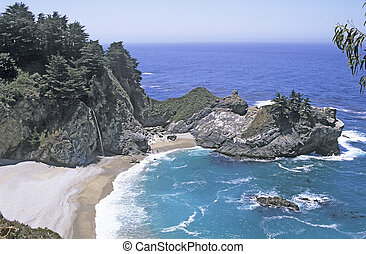 Pacific Cove - Cove along Big Sur, California coastline with...