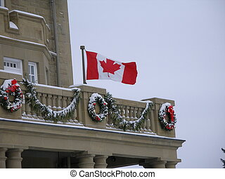 Winter in Canada - Canadian flag during a cold windy winter...