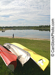 canoes at lake