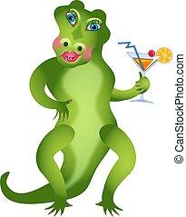 Girlie Gator - Feminine alligator with cocktail drink.