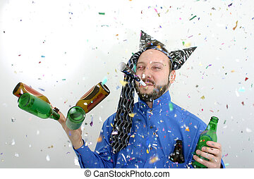 Happy New Years - Man with a beer in a rain of confetti with...
