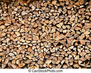 Firewood - Neatly stacked firewood.