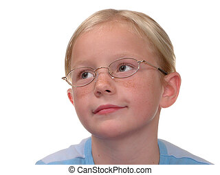 Child Wearing Glasses on White - Blonde girl on mottled...