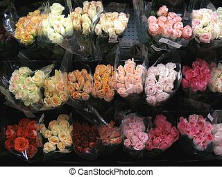 Valentine roses - Bunches of colorful roses at a local...