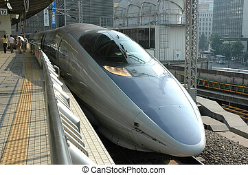 Shinkansen Train - Japanese high speed Shinkansen train,...