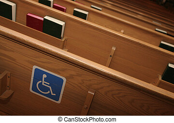 Wheel Chair Pew - Handicap sign on chruch pew show use for...