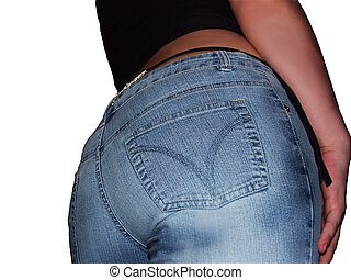 Diamond back #2 - Study of a female rear, in blue jeans and...