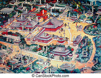 Japanese temple map - A touristic temple map.The inscription...