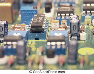 video editing suite - Macro of the electronic components on...