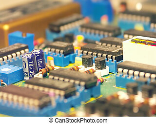 modern technology #1 - Macro of the electronic components on...