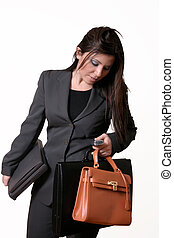 Busy Executive - Busy working woman juggles with bags,...