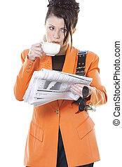Business breakfast - Busy woman breakfast on the go