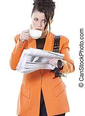 Business breakfast - Busy woman breakfast on the go