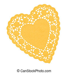 Heart Doilie Yellow - Paper doilie in heart shape with rose...
