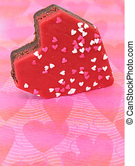 Red Heart Brownies - Heart shaped brownie with red icing and...