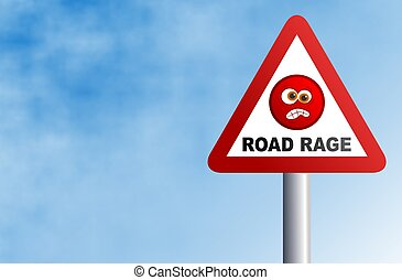 Road Rage - Warning road rage ahead. Concept illustration.