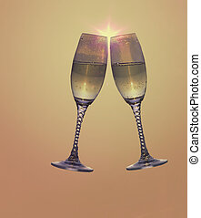 Toast - 2 champagne glasses toasting