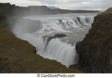 Waterfall Gulfoss - Gulfoss waterfall in Iceland