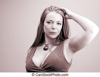 casual woman - woman in sephia