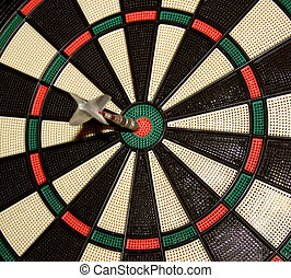 Bull's eye - Dart board with a shuttlecock in the core.