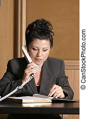 Business professional on phone with schedulediary