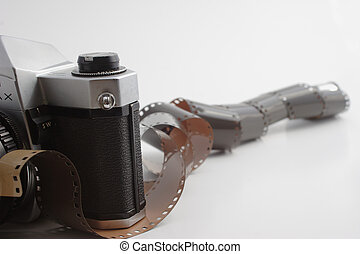 Old 35mm Film camera on white background