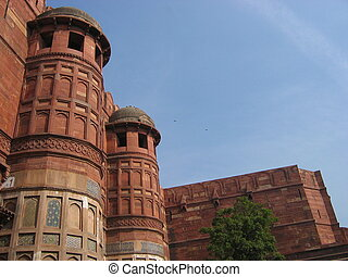Agra Fort - The high walls of Agra Fort India