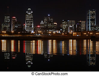 City Skyline. - Night view of Montreal's skyline