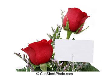 rojo, rosas, tarjeta