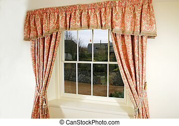Curtains and window - Pretty Curtains on window of historic...