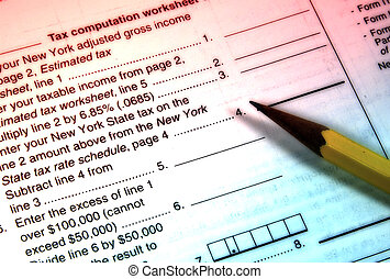 Tax Worksheet With Color and Blur Effect