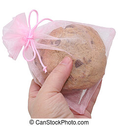 Chocolate Cookies in a Pink Gift Bag