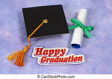 Graduation - Cap, Diploma and Happy Graduation