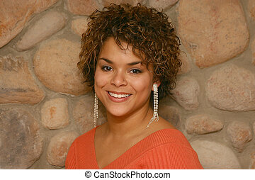 very pretty - young mixed race woman smiling