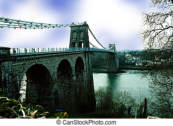 The Menai Bridge - The bridge leading mainland Wales to the...