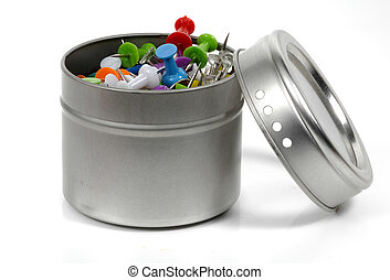 Tack Container - Tacks in a Metal Container
