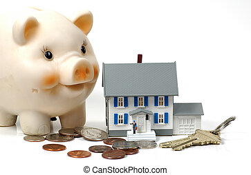 Mortgage - Photo of a Model Home, Piggy Bank and Money...