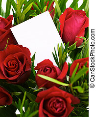 Red roses 1 - Bouquet of red roses with a blank gift card