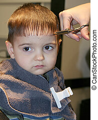 First Hair Cut 03 - Small boy getting his first hair cut...